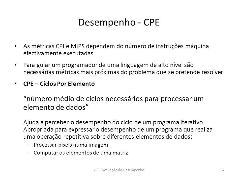 Desempenho - CPE As métricas CPI e MIPS dependem do número de instruções máquina efectivamente executadas Para guiar um programador de uma linguagem d