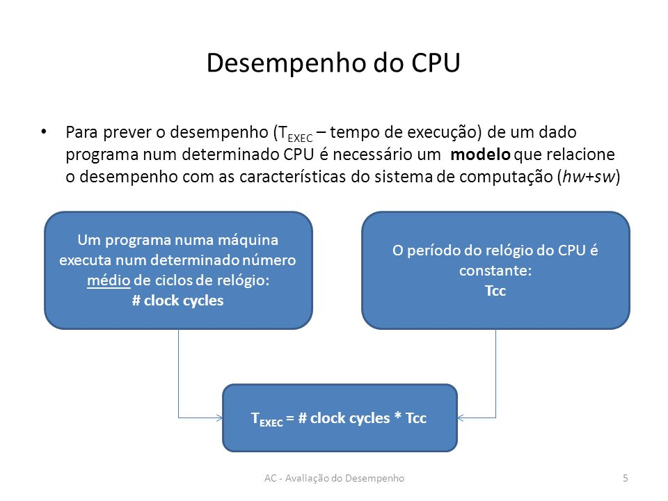 Desempenho do CPU Para prever o desempenho (T EXEC – tempo de execução) de um dado programa num determinado CPU é necessário um modelo que relacione o