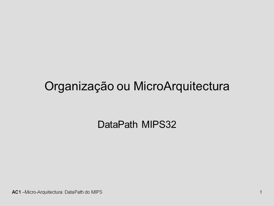 AC1 –Micro-Arquitectura: DataPath do MIPS12 Instrução do Tipo-R (fetch) MemtoReg MemRead MemWrite ALUSrc RegDst PC Instruction memory Read address Instruction [31–0] Instruction [20–16] Instruction [25–21] Add RegWrite 4 16 32 Instruction [15–0] 0 Registers Write register Write data Write data Read data 1 Read data 2 Read register 1 Read register 2 Sign extend ALU result Zero Data memory Address Read data M u x 1 0 M u x 1 0 M u x 1 0 M u x 1 Instruction [15–11] Shift left 2 PCSrc ALU Add ALU result ALU operation (Rs) (Rt) (Rd) (Imm) A instrução apontada pelo PC é lida e o valor do PC é incrementado de 4 (mas não é escrito no registo) U.C.