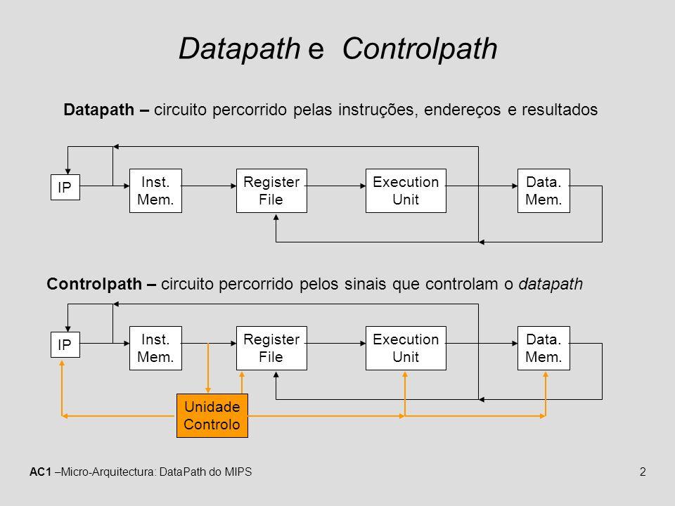 AC1 –Micro-Arquitectura: DataPath do MIPS13 Instrução do Tipo-R (decode/operand fetch) MemtoReg MemRead MemWrite ALUSrc RegDst PC Instruction memory Read address Instruction [31–0] Instruction [20–16] Instruction [25–21] Add RegWrite 4 16 32 Instruction [15–0] 0 Registers Write register Write data Write data Read data 1 Read data 2 Read register 1 Read register 2 Sign extend ALU result Zero Data memory Address Read data M u x 1 0 M u x 1 0 M u x 1 0 M u x 1 Instruction [15–11] Shift left 2 PCSrc ALU Add ALU result ALU operation (Rs) (Rt) (Rd) (Imm) A unidade de controlo descodifica a instrução e gera os sinais de controlo.