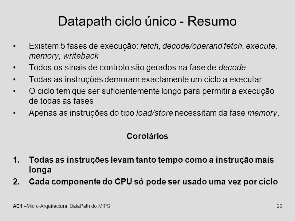 AC1 –Micro-Arquitectura: DataPath do MIPS20 Datapath ciclo único - Resumo Existem 5 fases de execução: fetch, decode/operand fetch, execute, memory, w