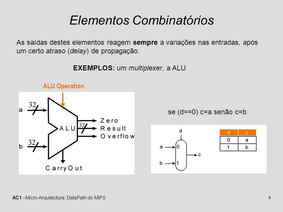 AC1 –Micro-Arquitectura: DataPath do MIPS4 Elementos Combinatórios As saídas destes elementos reagem sempre a variações nas entradas, após um certo at