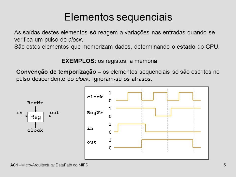 AC1 –Micro-Arquitectura: DataPath do MIPS6 Sub conjunto de instruções do MIPS: Acesso à memória – lw e sw Lógico-aritméticas – add, addi, sub, and, andi, or, ori, slt e slti Controlo de fluxo – beq Implementação de ciclo único: 1.Todas as instruções demoram exactamente um único ciclo do relógio 2.O período do clock tem que ser igual à instrução mais demorada 3.Nenhum componente do datapath pode ser usado mais do que uma vez durante a mesma instrução Datapath MIPS32 – ciclo único
