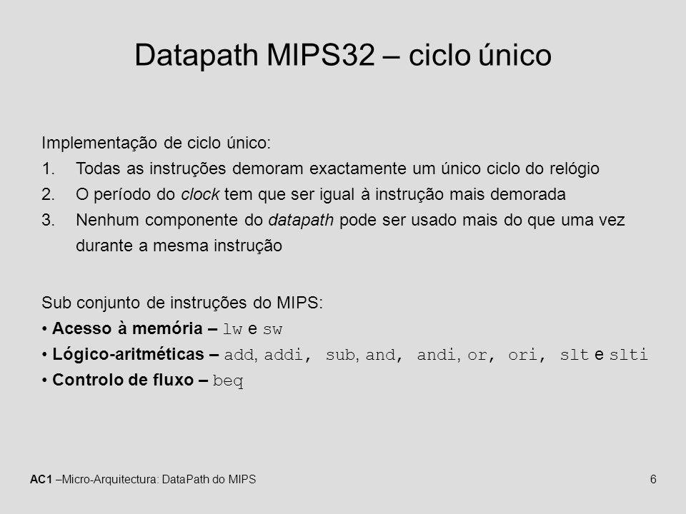 AC1 –Micro-Arquitectura: DataPath do MIPS17 Instrução beq RegDstX RegWrite0 ALUSrc1 MemWrite0 MemRead0 MemtoRegX ALU operation110 PCSrcZero??.