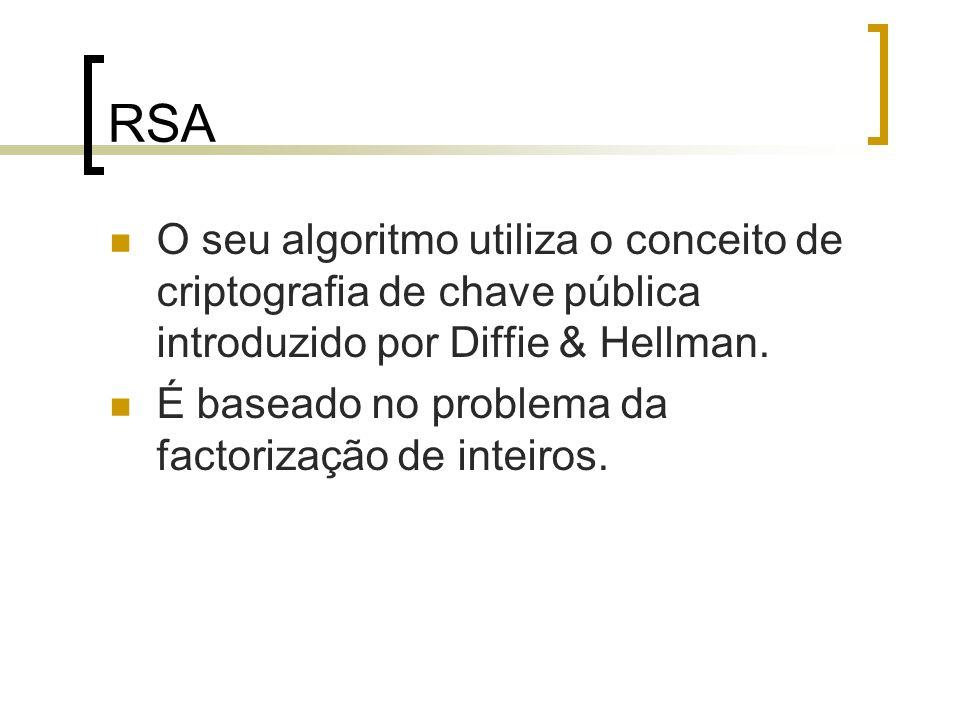 RSA O seu algoritmo utiliza o conceito de criptografia de chave pública introduzido por Diffie & Hellman. É baseado no problema da factorização de int