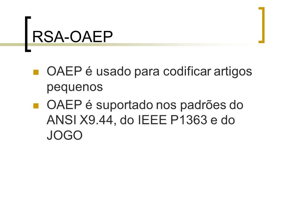 RSA-OAEP: segurança A segurança de RSA-OAEP depende da segurança dos primitivos subjacentes da cifra e da decifra de RSA e da segurança do método codificado de OAEP Bellare e Rogaway introduziram um conceito da segurança que se denotou por consciência do texto limpo