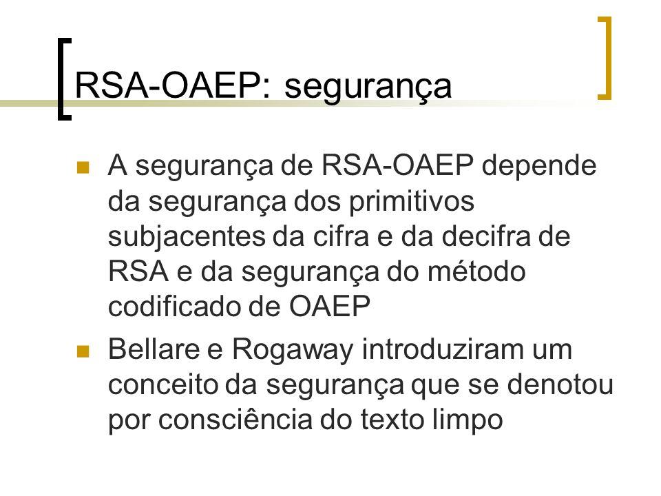 RSA-OAEP: segurança Defendem que através do método OAEP o adversário não pode produzir uma mensagem cifrada válida sem realmente saber qual a chave privada.