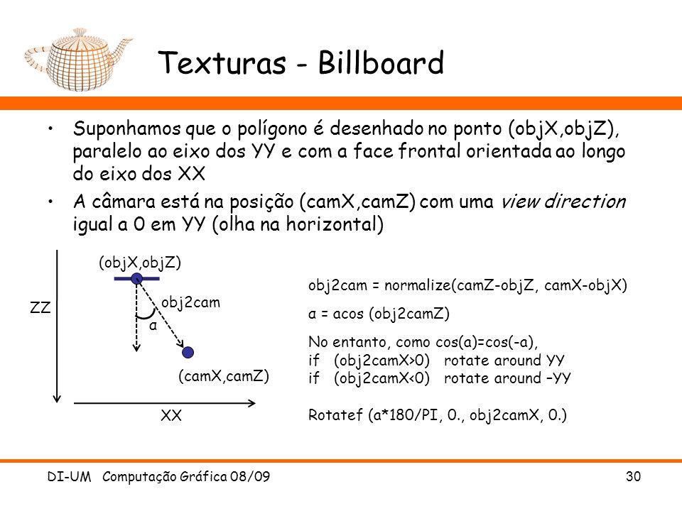 Texturas - Billboard Suponhamos que o polígono é desenhado no ponto (objX,objZ), paralelo ao eixo dos YY e com a face frontal orientada ao longo do ei