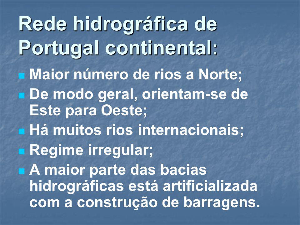 Rede hidrográfica de Portugal continental : Maior número de rios a Norte; De modo geral, orientam-se de Este para Oeste; Há muitos rios internacionais