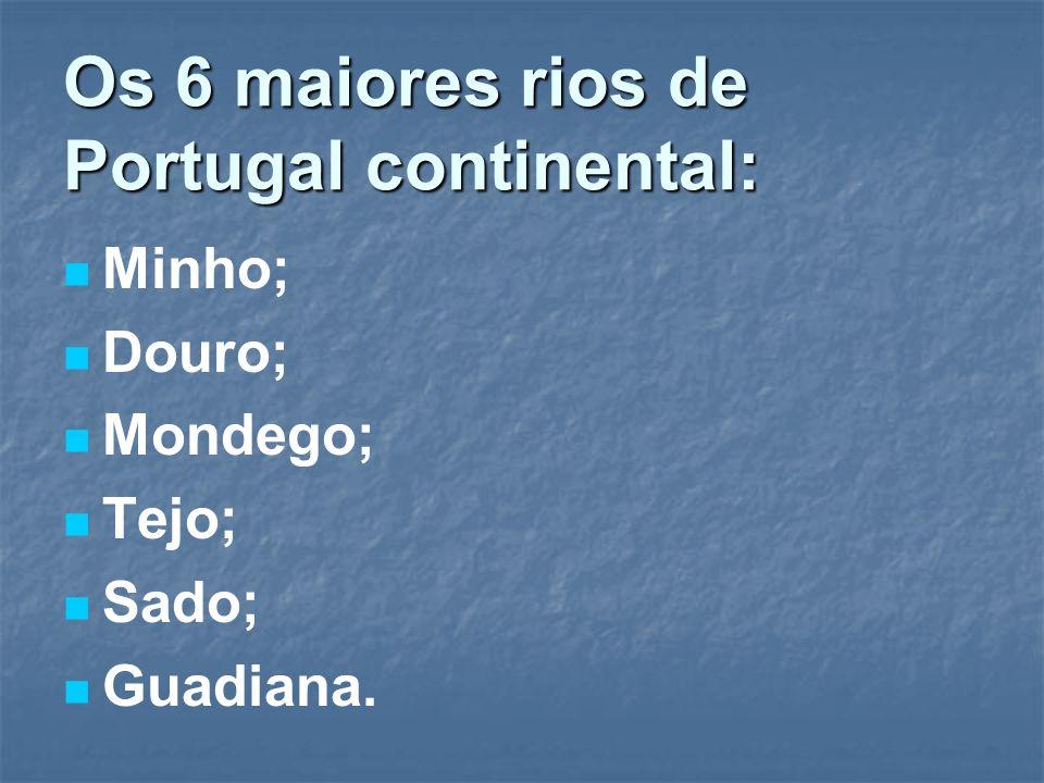 Os 6 maiores rios de Portugal continental: Minho; Douro; Mondego; Tejo; Sado; Guadiana.