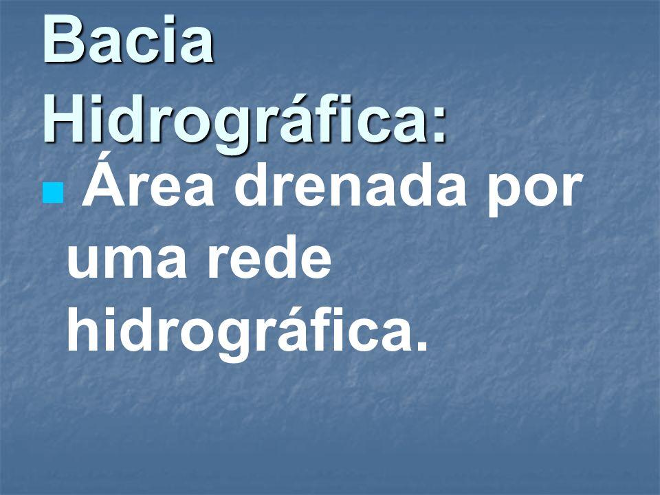Bacia Hidrográfica: Área drenada por uma rede hidrográfica.
