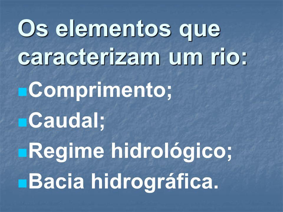 Os elementos que caracterizam um rio: Comprimento; Caudal; Regime hidrológico; Bacia hidrográfica.