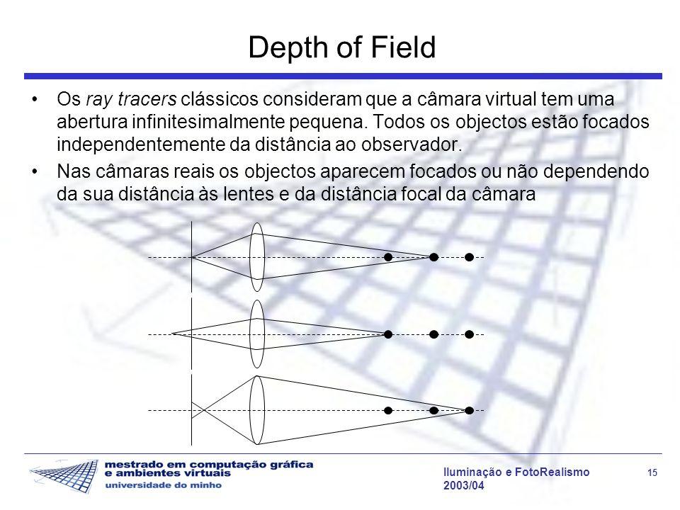 Iluminação e FotoRealismo 15 2003/04 Depth of Field Os ray tracers clássicos consideram que a câmara virtual tem uma abertura infinitesimalmente pequena.