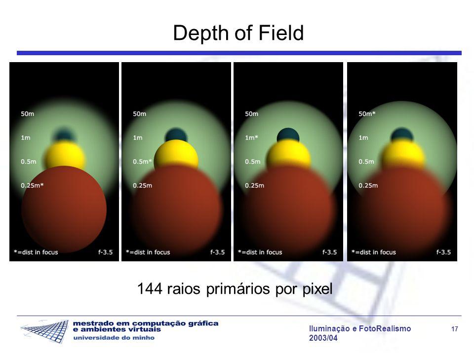 Iluminação e FotoRealismo 17 2003/04 Depth of Field 144 raios primários por pixel