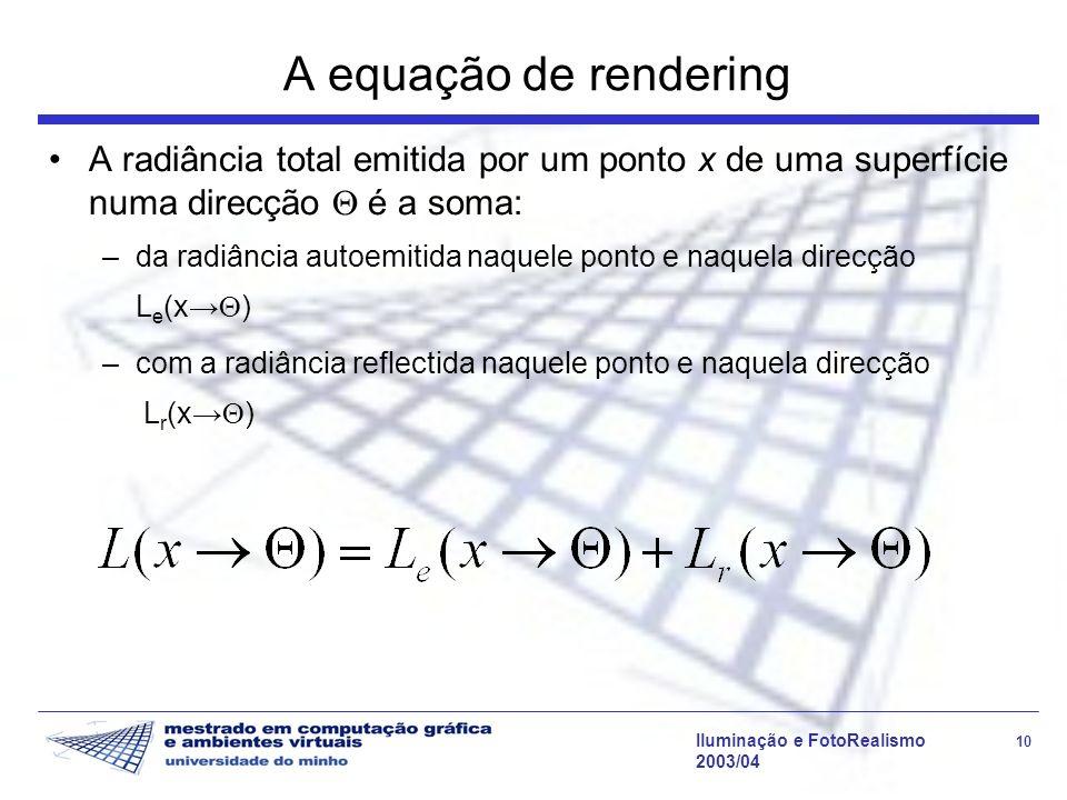 Iluminação e FotoRealismo 10 2003/04 A equação de rendering A radiância total emitida por um ponto x de uma superfície numa direcção é a soma: –da rad