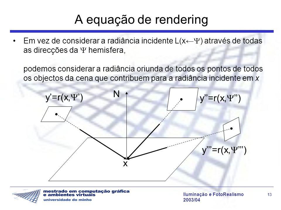 Iluminação e FotoRealismo 13 2003/04 A equação de rendering Em vez de considerar a radiância incidente L(x ) através de todas as direcções da hemisfer