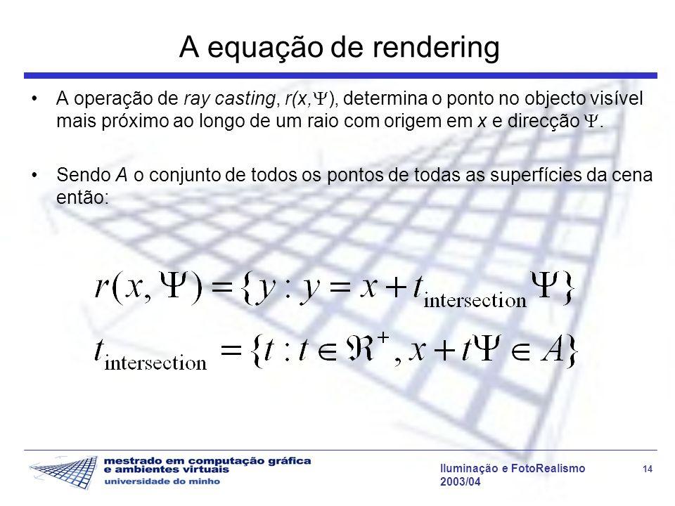 Iluminação e FotoRealismo 14 2003/04 A equação de rendering A operação de ray casting, r(x, ), determina o ponto no objecto visível mais próximo ao lo