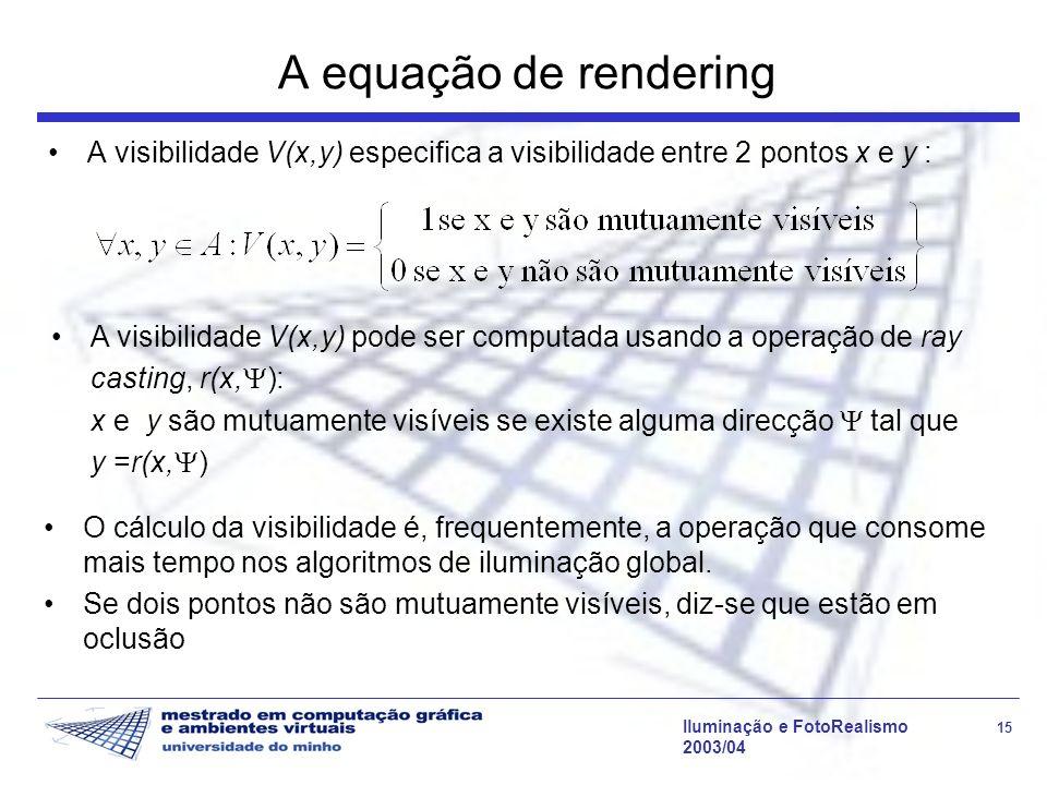 Iluminação e FotoRealismo 15 2003/04 A equação de rendering A visibilidade V(x,y) especifica a visibilidade entre 2 pontos x e y : A visibilidade V(x,