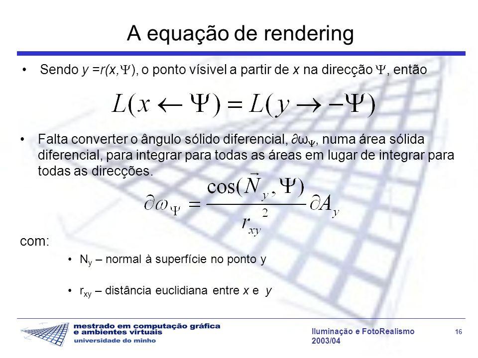 Iluminação e FotoRealismo 16 2003/04 Falta converter o ângulo sólido diferencial, ω, numa área sólida diferencial, para integrar para todas as áreas e