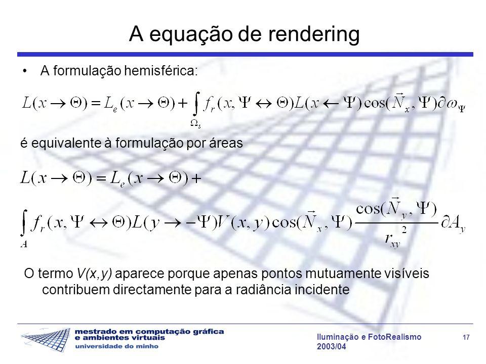 Iluminação e FotoRealismo 17 2003/04 A equação de rendering A formulação hemisférica: é equivalente à formulação por áreas O termo V(x,y) aparece porq