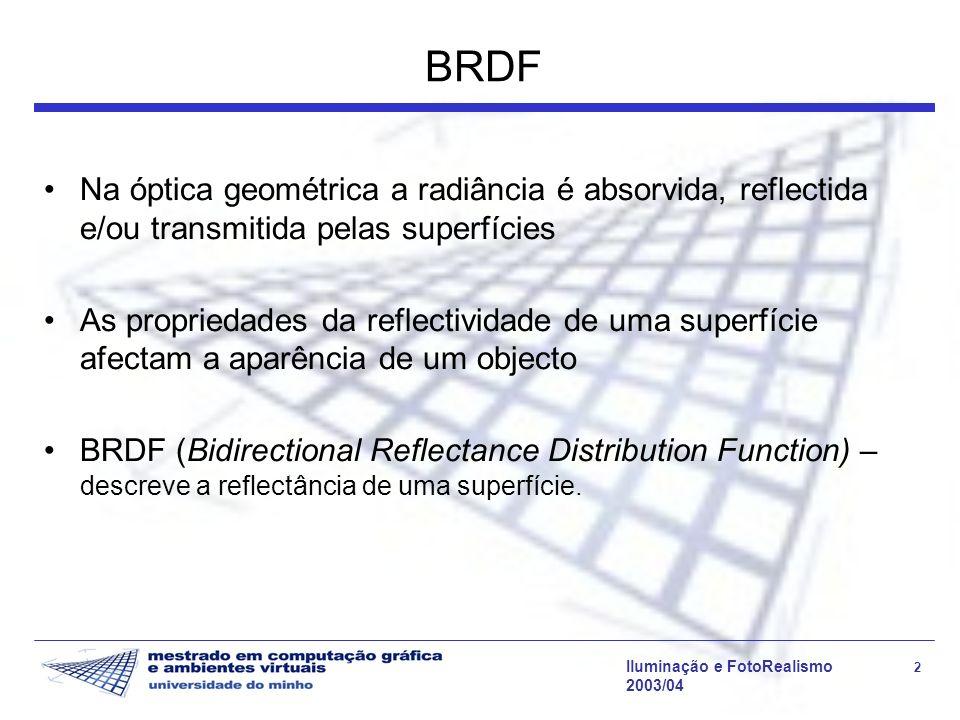 Iluminação e FotoRealismo 2 2003/04 BRDF Na óptica geométrica a radiância é absorvida, reflectida e/ou transmitida pelas superfícies As propriedades d