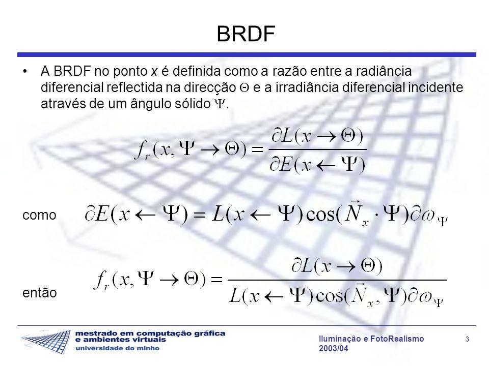 Iluminação e FotoRealismo 3 2003/04 BRDF A BRDF no ponto x é definida como a razão entre a radiância diferencial reflectida na direcção e a irradiânci