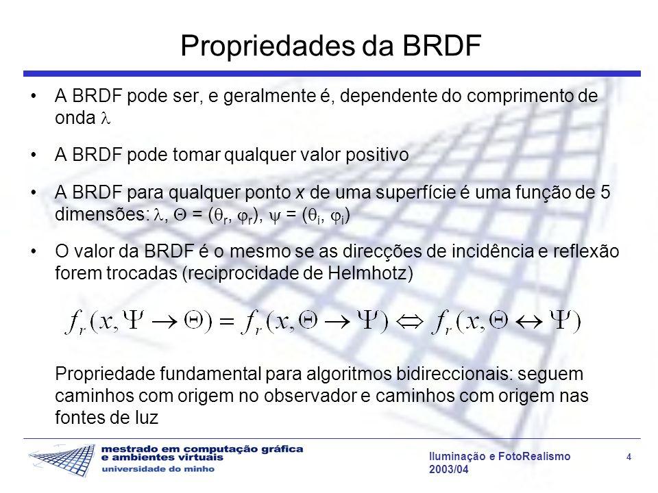 Iluminação e FotoRealismo 4 2003/04 Propriedades da BRDF A BRDF pode ser, e geralmente é, dependente do comprimento de onda A BRDF pode tomar qualquer