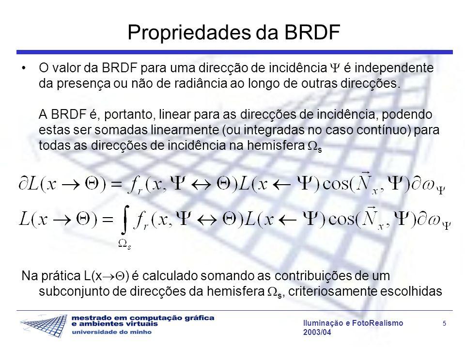 Iluminação e FotoRealismo 5 2003/04 Propriedades da BRDF O valor da BRDF para uma direcção de incidência é independente da presença ou não de radiânci