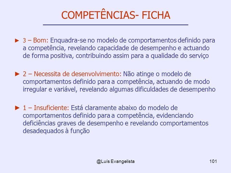 @Luís Evangelista101 COMPETÊNCIAS- FICHA 3 – Bom: Enquadra-se no modelo de comportamentos definido para a competência, revelando capacidade de desempe