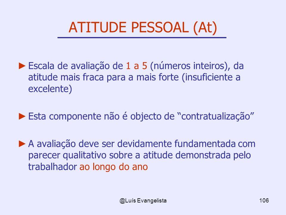 @Luís Evangelista106 ATITUDE PESSOAL (At) Escala de avaliação de 1 a 5 (números inteiros), da atitude mais fraca para a mais forte (insuficiente a exc