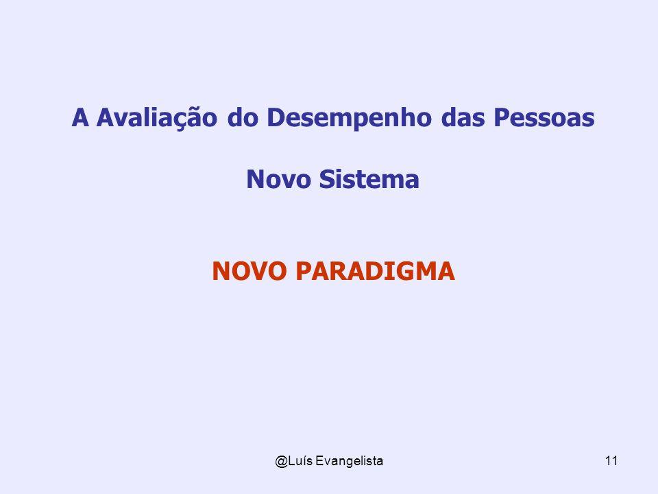@Luís Evangelista11 A Avaliação do Desempenho das Pessoas Novo Sistema NOVO PARADIGMA