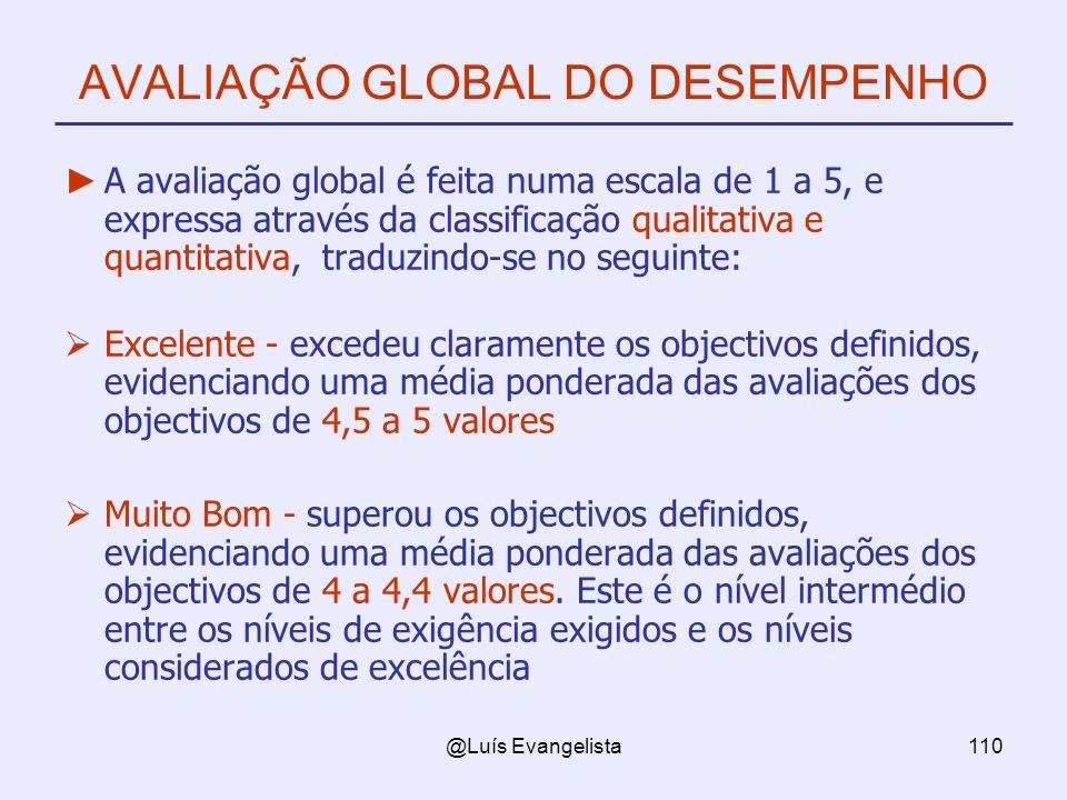 @Luís Evangelista110 AVALIAÇÃO GLOBAL DO DESEMPENHO A avaliação global é feita numa escala de 1 a 5, e expressa através da classificação qualitativa e quantitativa, traduzindo-se no seguinte: Excelente - excedeu claramente os objectivos definidos, evidenciando uma média ponderada das avaliações dos objectivos de 4,5 a 5 valores Muito Bom - superou os objectivos definidos, evidenciando uma média ponderada das avaliações dos objectivos de 4 a 4,4 valores.