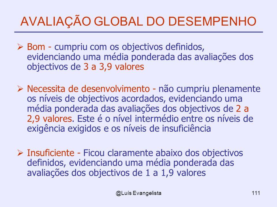 @Luís Evangelista111 AVALIAÇÃO GLOBAL DO DESEMPENHO Bom - cumpriu com os objectivos definidos, evidenciando uma média ponderada das avaliações dos obj