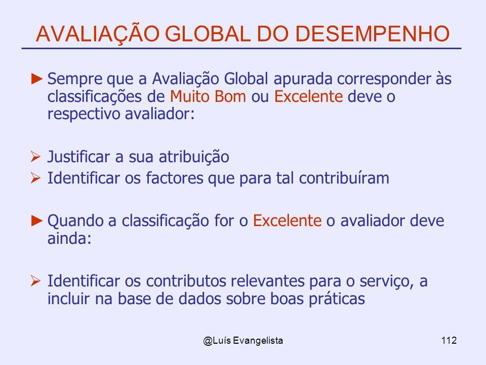 @Luís Evangelista112 AVALIAÇÃO GLOBAL DO DESEMPENHO Sempre que a Avaliação Global apurada corresponder às classificações de Muito Bom ou Excelente dev