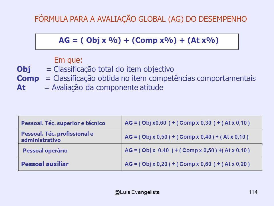 @Luís Evangelista114 FÓRMULA PARA A AVALIAÇÃO GLOBAL (AG) DO DESEMPENHO AG = ( Obj x %) + (Comp x%) + (At x%) Em que: Obj = Classificação total do item objectivo Comp = Classificação obtida no item competências comportamentais At = Avaliação da componente atitude Pessoal.
