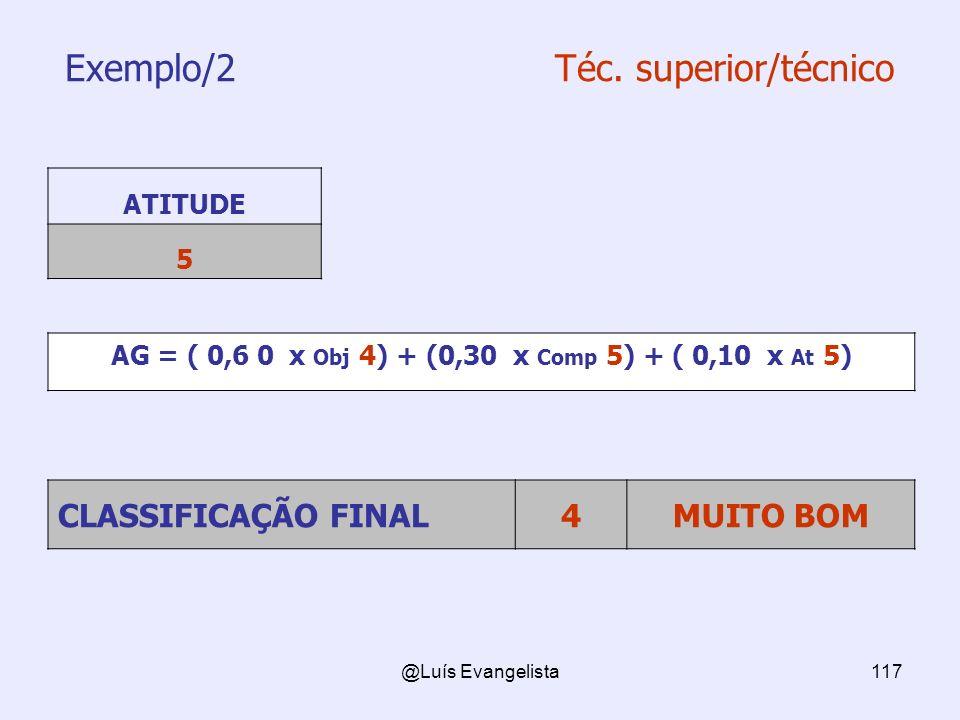 @Luís Evangelista117 Exemplo/2 Téc. superior/técnico ATITUDE 5 AG = ( 0,6 0 x Obj 4) + (0,30 x Comp 5) + ( 0,10 x At 5) CLASSIFICAÇÃO FINAL4MUITO BOM