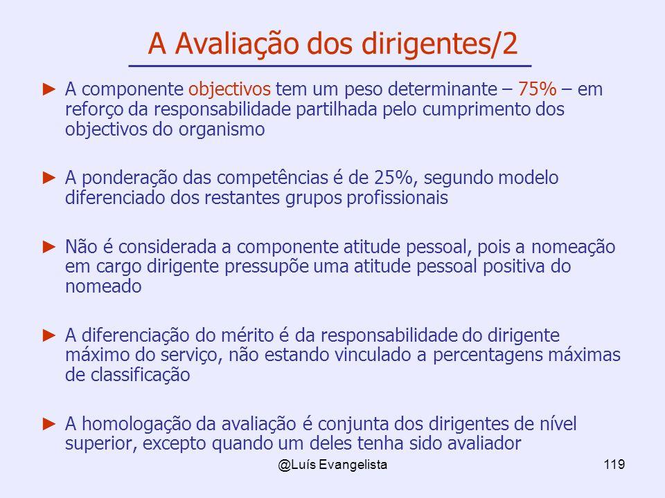@Luís Evangelista119 A Avaliação dos dirigentes/2 A componente objectivos tem um peso determinante – 75% – em reforço da responsabilidade partilhada p