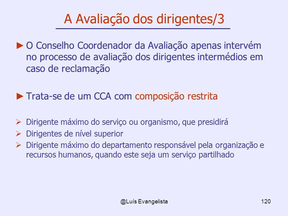 @Luís Evangelista120 A Avaliação dos dirigentes/3 O Conselho Coordenador da Avaliação apenas intervém no processo de avaliação dos dirigentes interméd