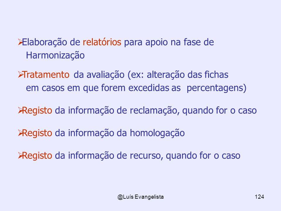 @Luís Evangelista124 Elaboração de relatórios para apoio na fase de Harmonização Tratamento da avaliação (ex: alteração das fichas em casos em que for