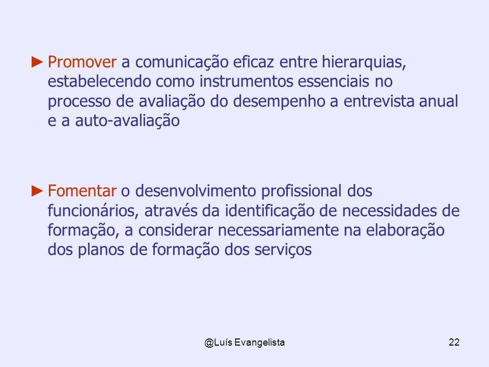 @Luís Evangelista22 Promover a comunicação eficaz entre hierarquias, estabelecendo como instrumentos essenciais no processo de avaliação do desempenho