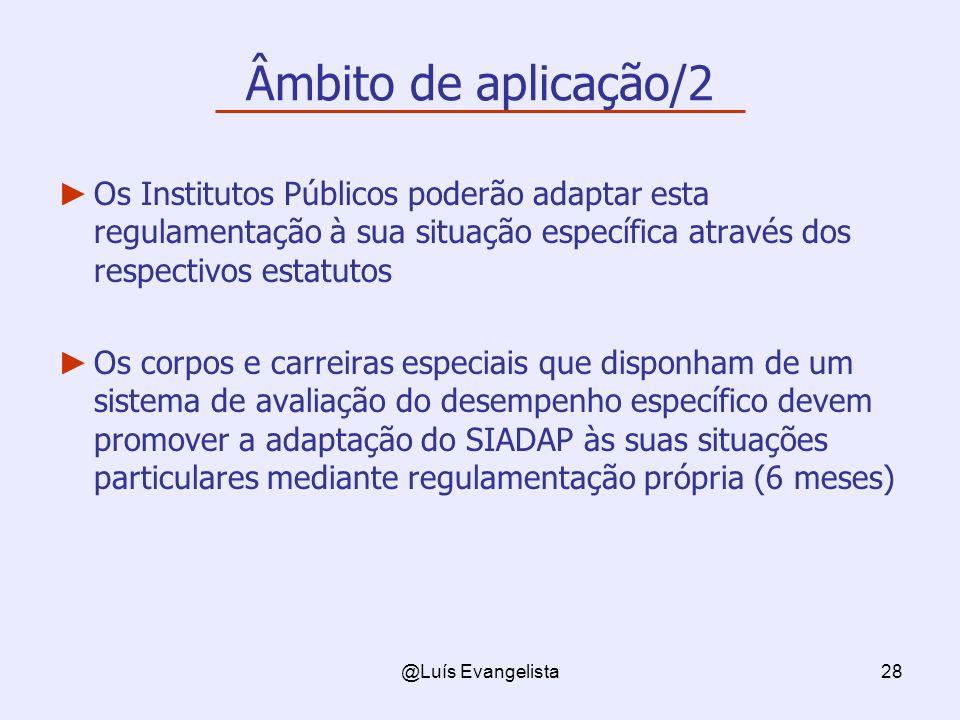 @Luís Evangelista28 Âmbito de aplicação/2 Os Institutos Públicos poderão adaptar esta regulamentação à sua situação específica através dos respectivos