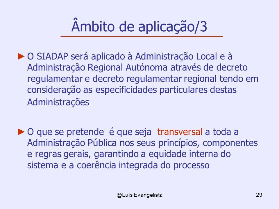 @Luís Evangelista29 Âmbito de aplicação/3 O SIADAP será aplicado à Administração Local e à Administração Regional Autónoma através de decreto regulame