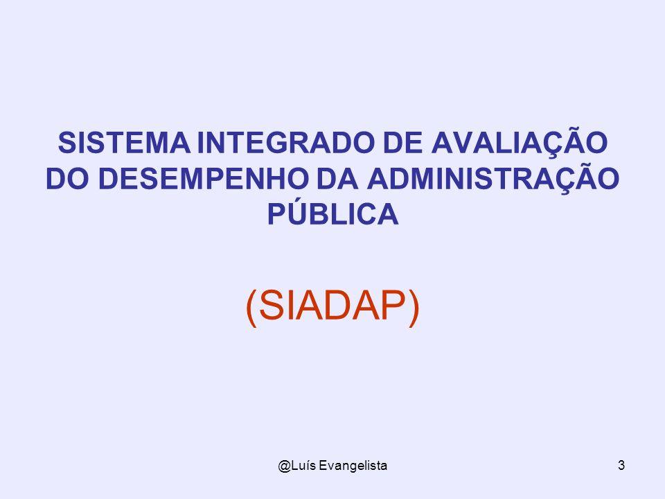 @Luís Evangelista3 SISTEMA INTEGRADO DE AVALIAÇÃO DO DESEMPENHO DA ADMINISTRAÇÃO PÚBLICA (SIADAP)