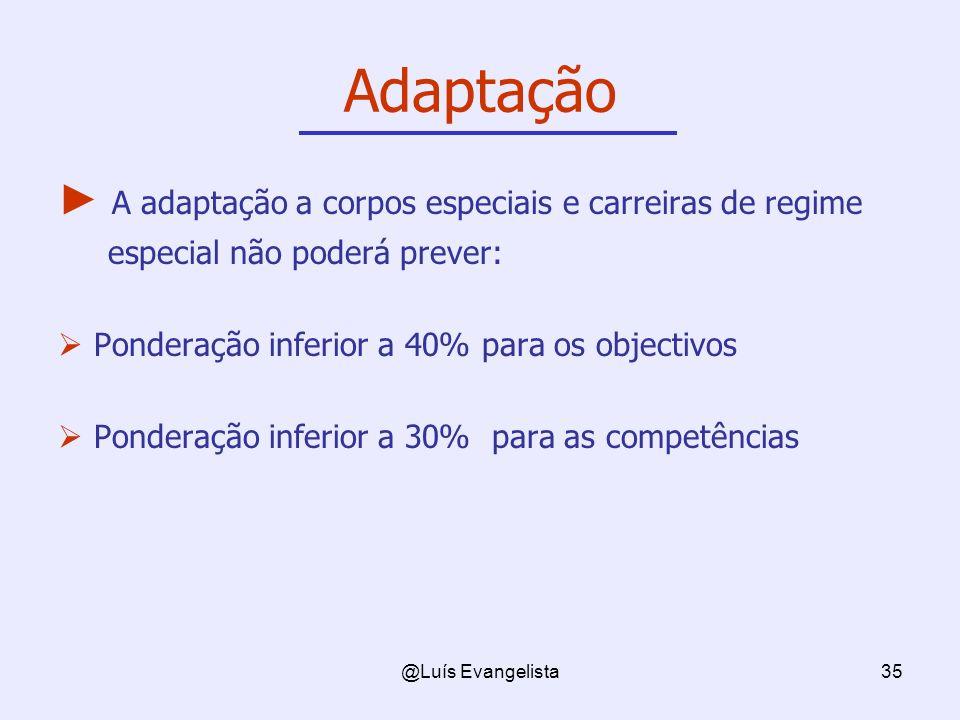 @Luís Evangelista35 Adaptação A adaptação a corpos especiais e carreiras de regime especial não poderá prever: Ponderação inferior a 40% para os objectivos Ponderação inferior a 30% para as competências