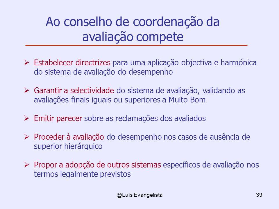 @Luís Evangelista39 Estabelecer directrizes para uma aplicação objectiva e harmónica do sistema de avaliação do desempenho Garantir a selectividade do
