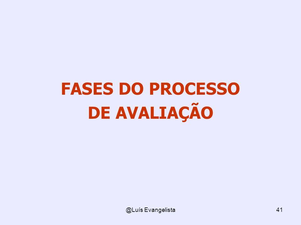 @Luís Evangelista41 FASES DO PROCESSO DE AVALIAÇÃO