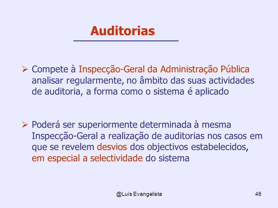 @Luís Evangelista46 Compete à Inspecção-Geral da Administração Pública analisar regularmente, no âmbito das suas actividades de auditoria, a forma com