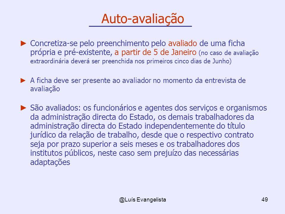 @Luís Evangelista49 Auto-avaliação Concretiza-se pelo preenchimento pelo avaliado de uma ficha própria e pré-existente, a partir de 5 de Janeiro (no c