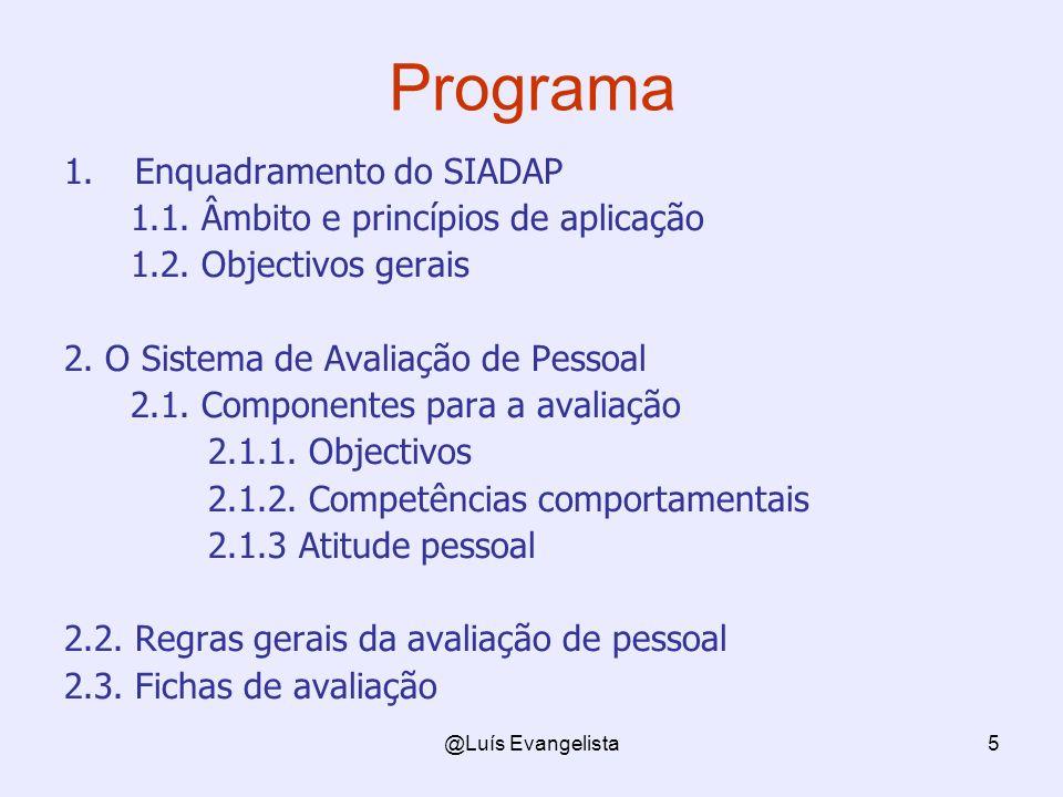 @Luís Evangelista5 Programa 1.Enquadramento do SIADAP 1.1. Âmbito e princípios de aplicação 1.2. Objectivos gerais 2. O Sistema de Avaliação de Pessoa