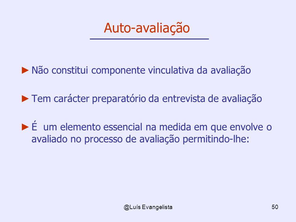 @Luís Evangelista50 Auto-avaliação Não constitui componente vinculativa da avaliação Tem carácter preparatório da entrevista de avaliação É um elemento essencial na medida em que envolve o avaliado no processo de avaliação permitindo-lhe: